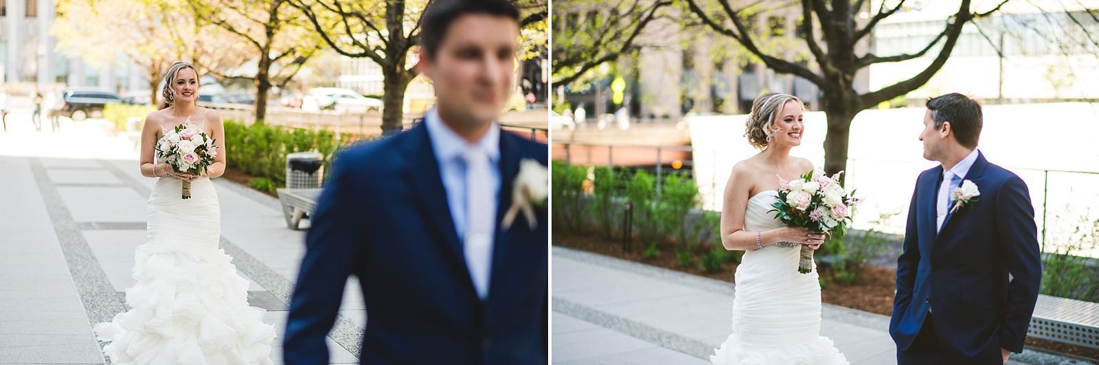 13 first look in chicago downtown - Mid America Club Wedding Photography / Hannah + Jay