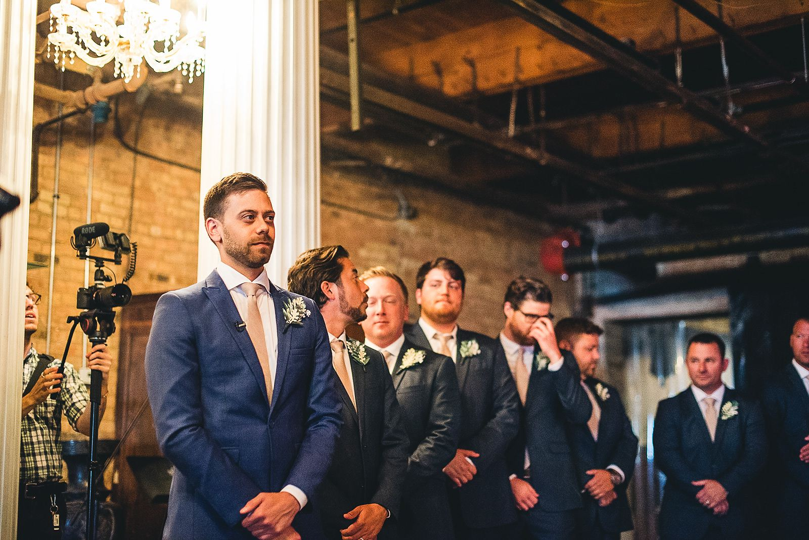 28 groom waiting at salvage one - Salvage One Wedding // Pearl + Ken