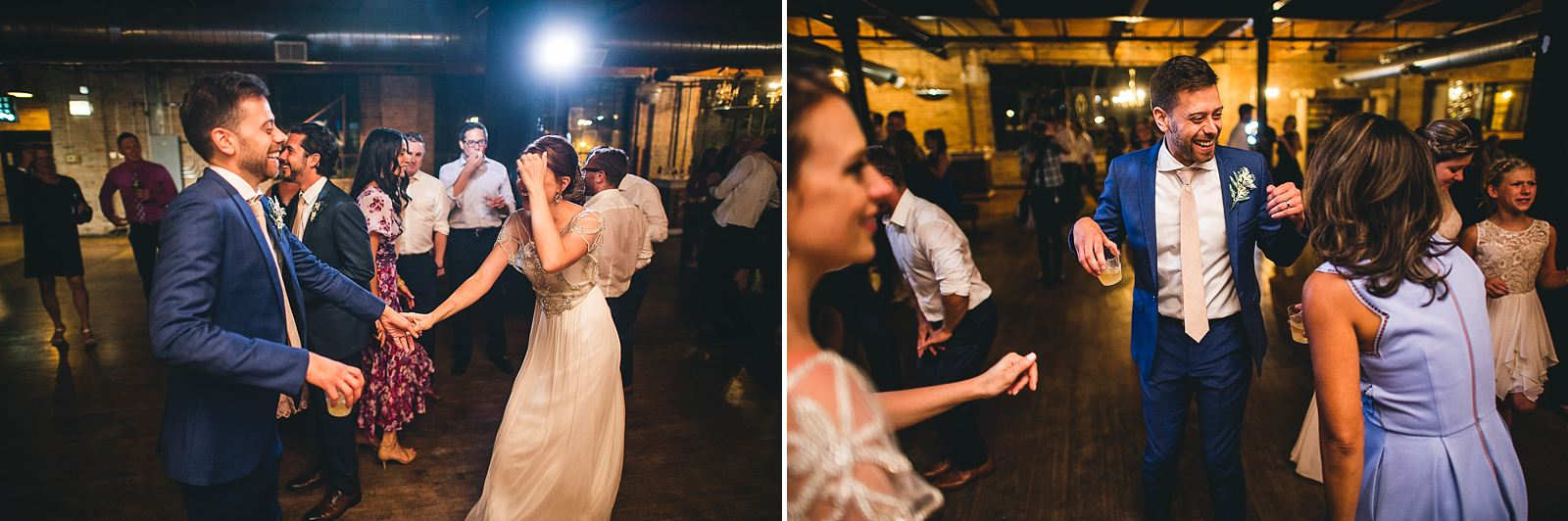 55 dancing at reception at chicago salvage one wedding - Salvage One Wedding // Pearl + Ken