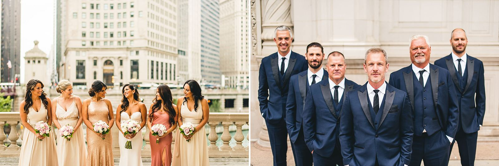 22 fun bridal party photos symmetry - Intercontinental Chicago Hotel Wedding // Lili + Danny
