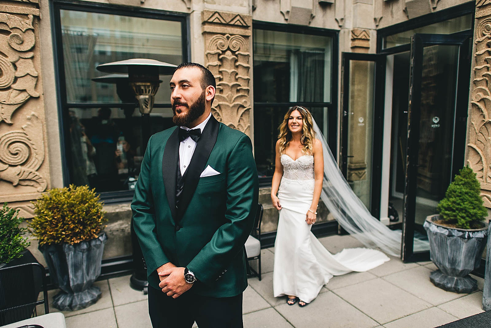 13 first look gwen hotel - Ivy Room Chicago Wedding Photos // Bethany + Anthony