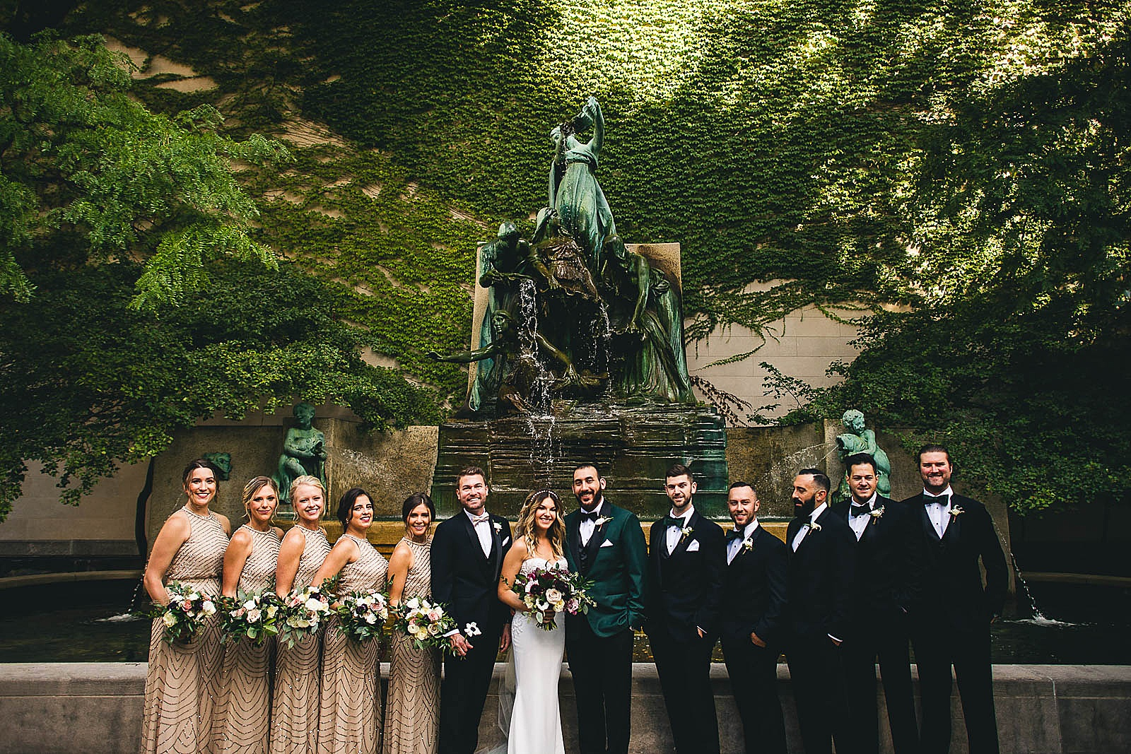 17 bridal party at south garden photos - Ivy Room Chicago Wedding Photos // Bethany + Anthony