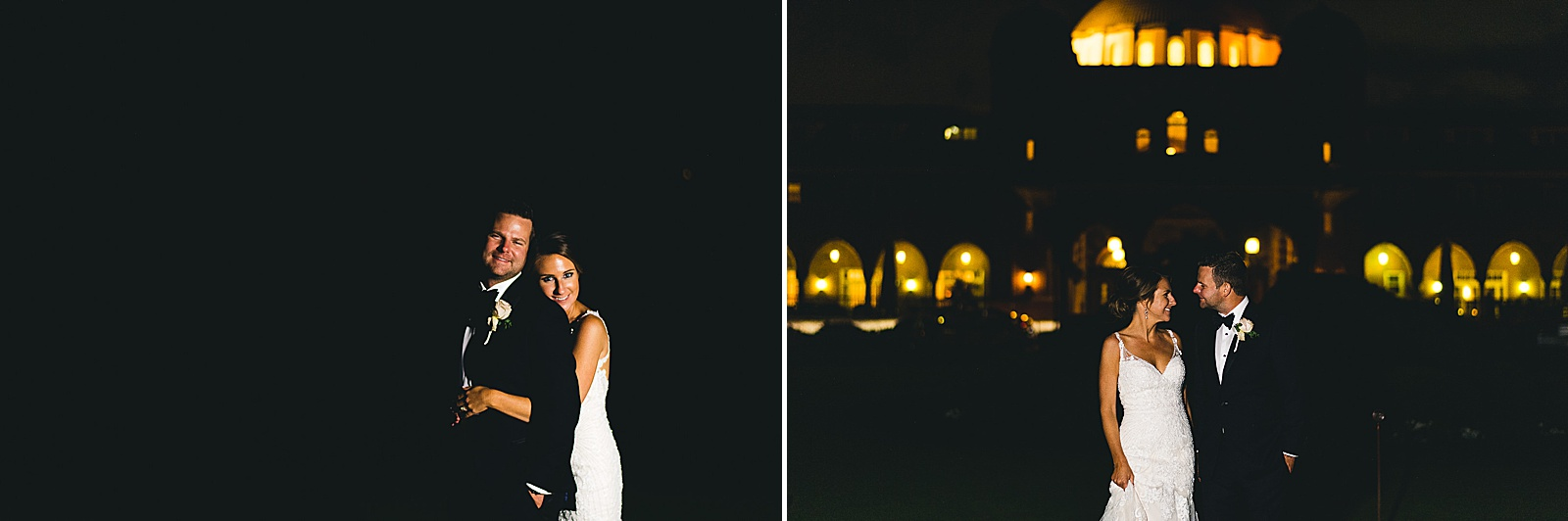 65 night portraits of bride and groom