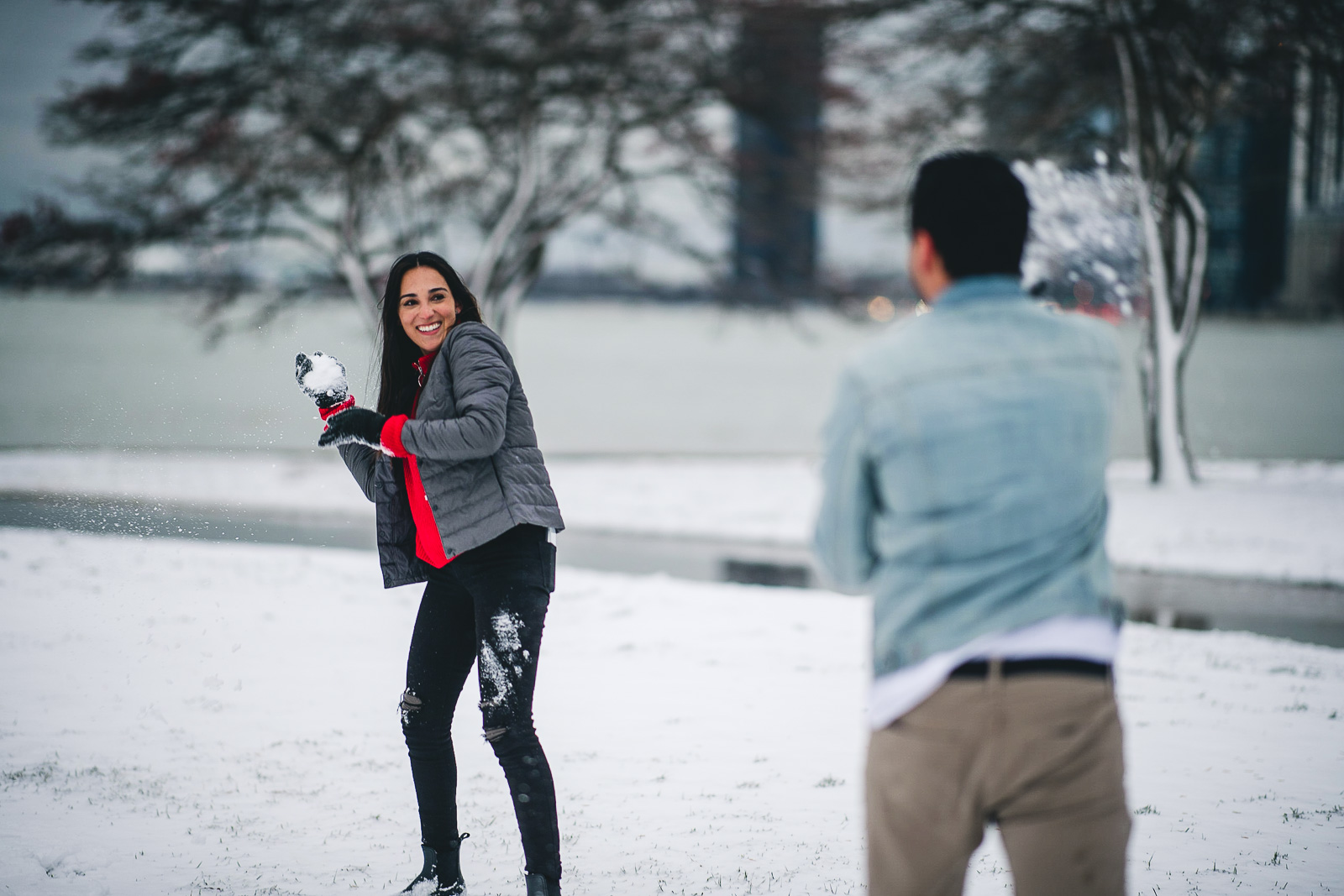 05 snowball fight - Chicago Proposal Photographer // Jose + Anna