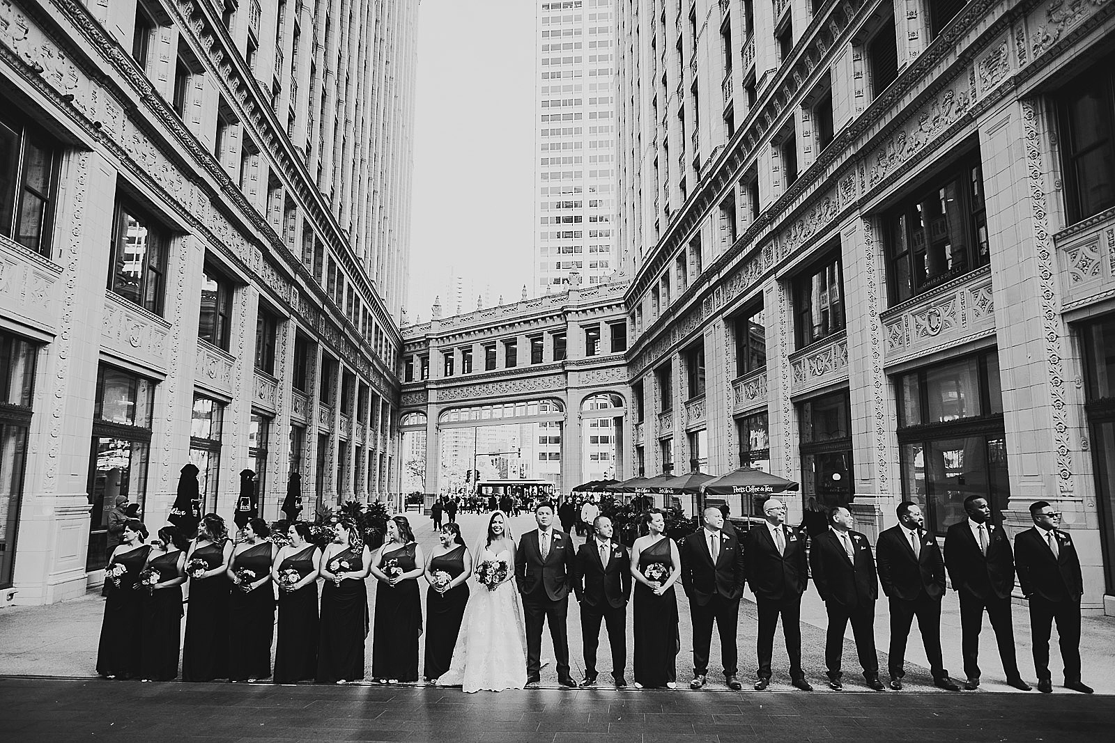 24 bridal party in black and white - LondonHouse Wedding Photos // Mari + Kevin