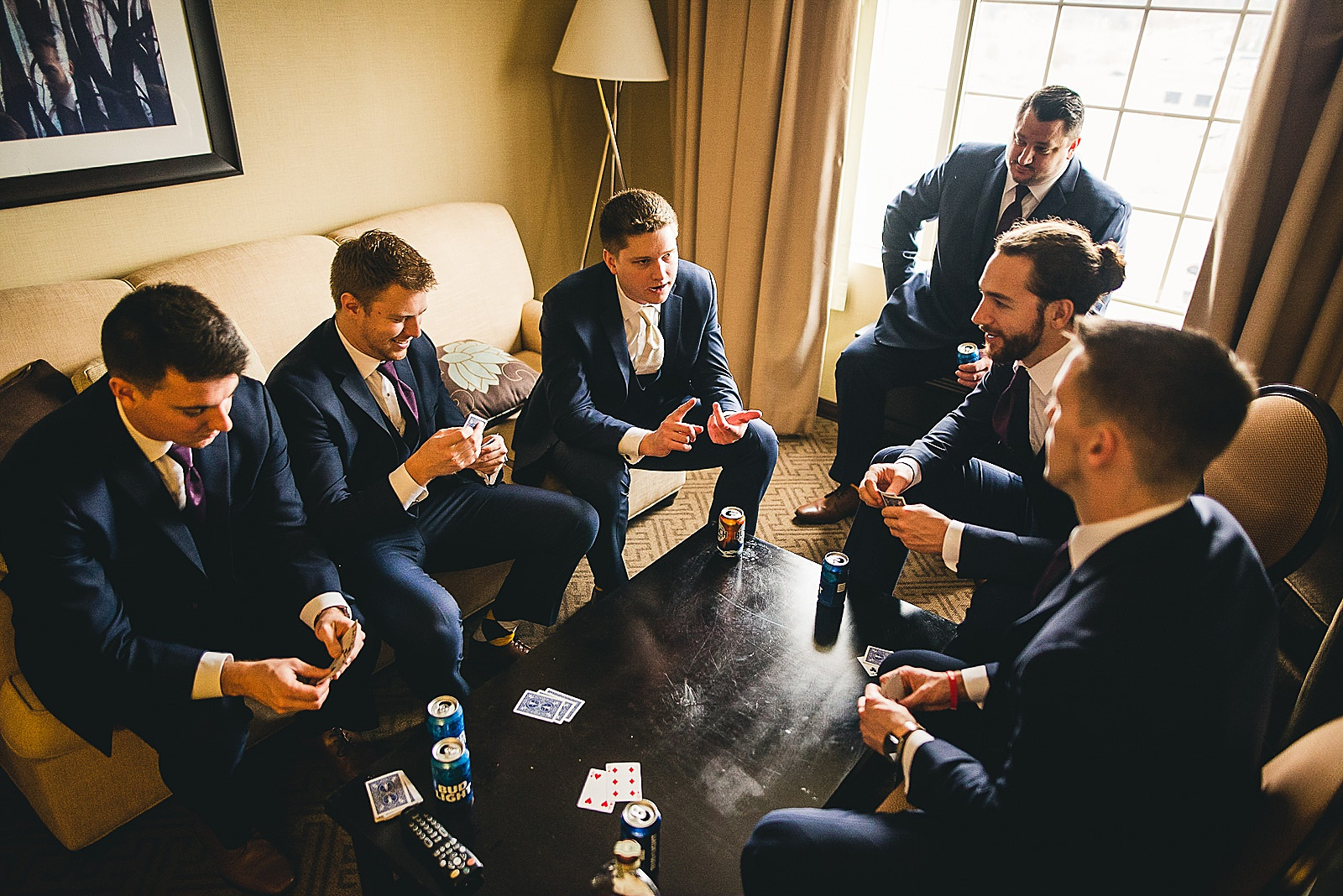 10 groomsmen playing fun and getting ready - The Glen Club Wedding Photos // Katie + Nick