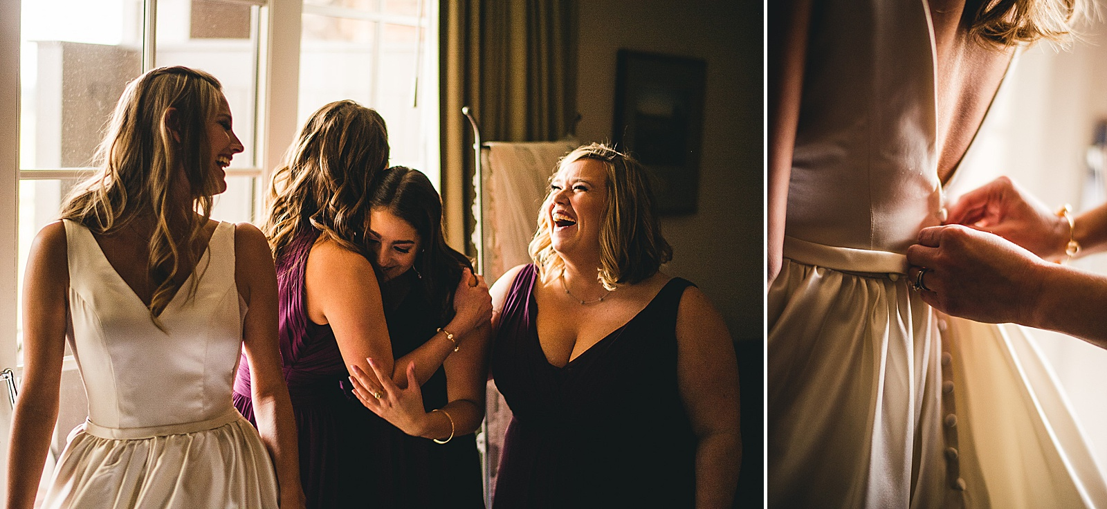 12 bride being buttoned up - The Glen Club Wedding Photos // Katie + Nick