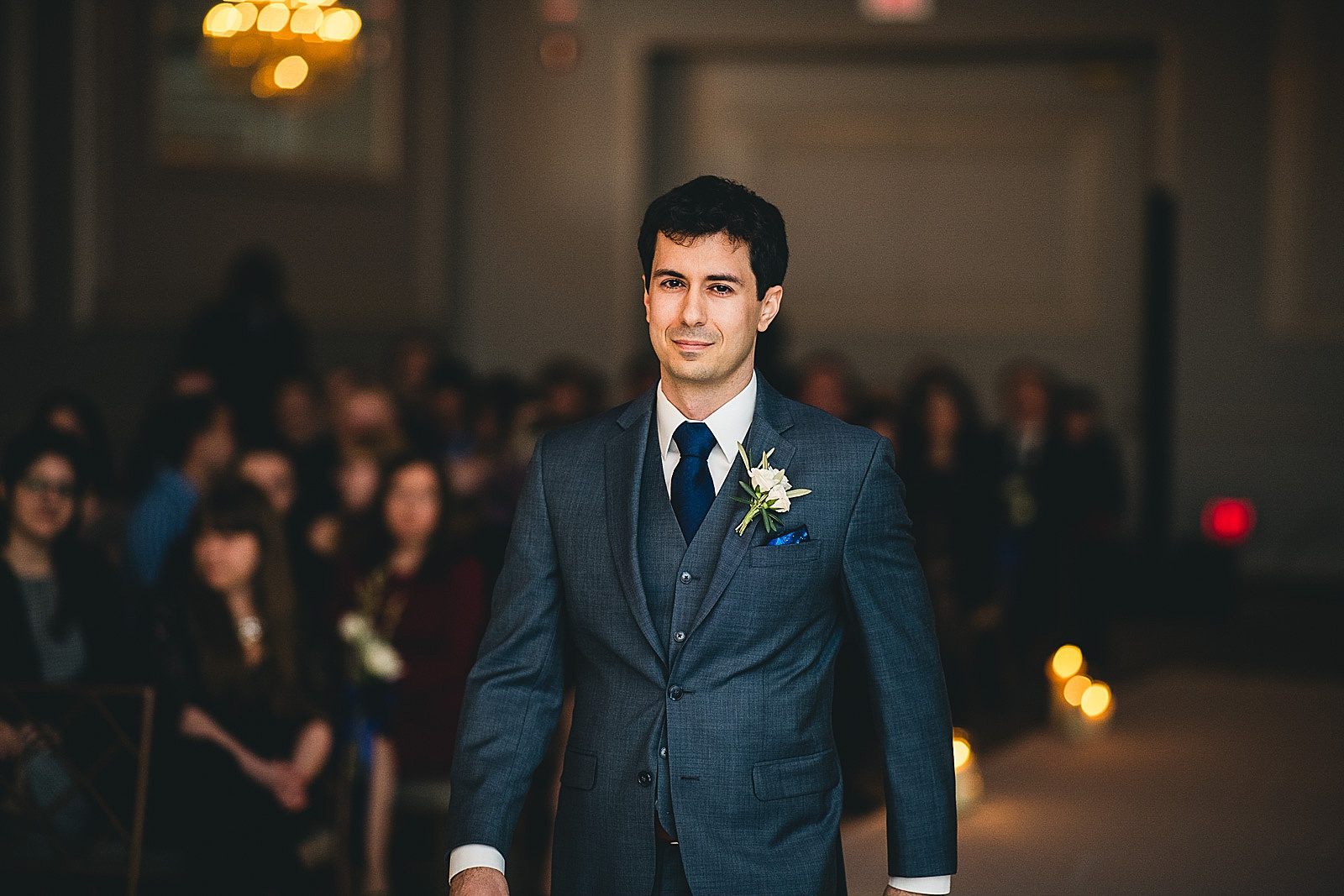 22 groom walking down the aisle at drury lane - Oakbrook Wedding Photos at Drury Lane // Marina + Joe