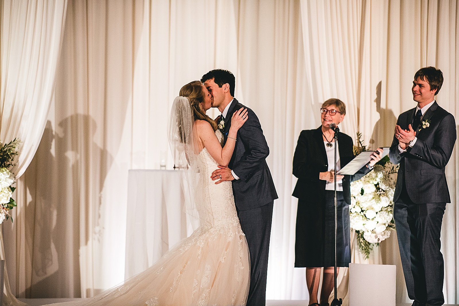 29 first kiss at drury lane - Oakbrook Wedding Photos at Drury Lane // Marina + Joe