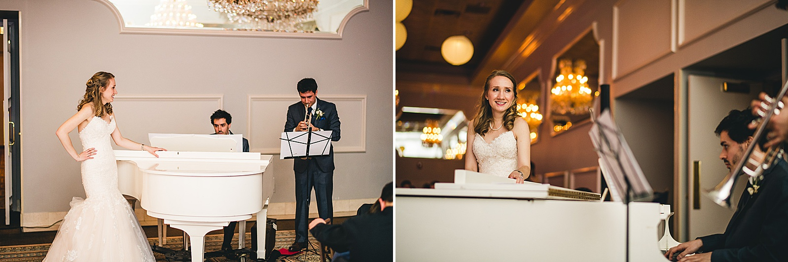 32 groom playing trumpet for bride - Oakbrook Wedding Photos at Drury Lane // Marina + Joe