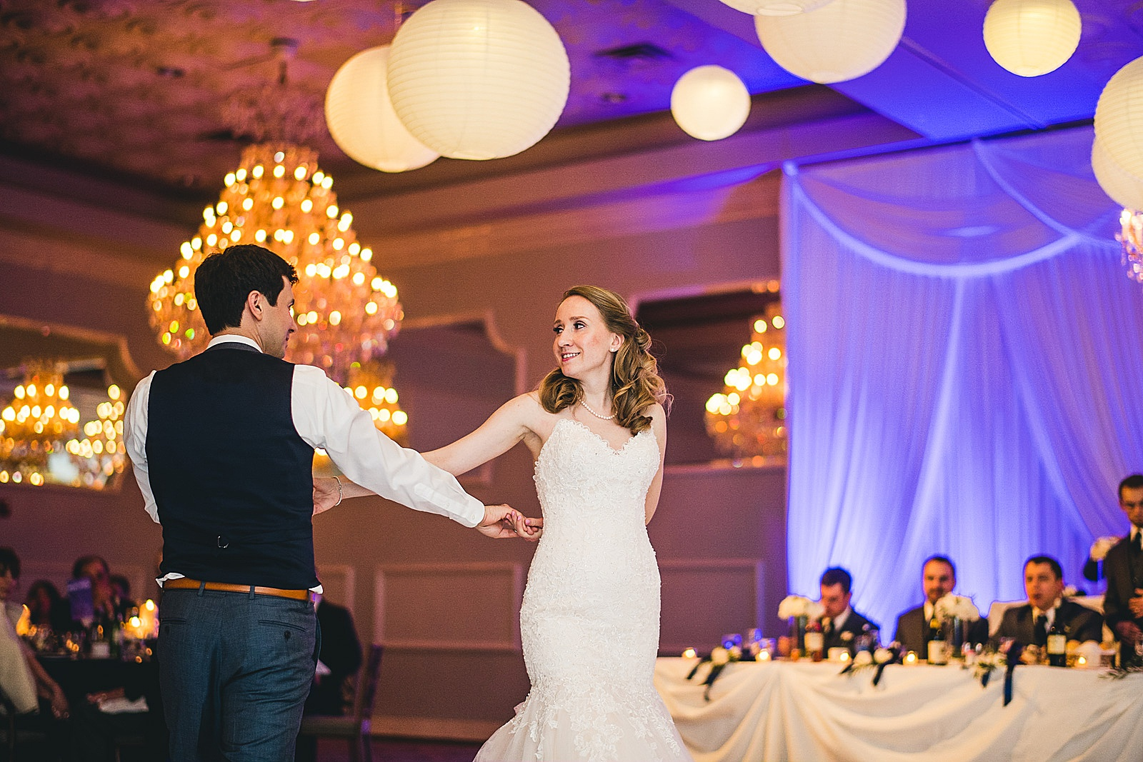 33 first dance at oakbrook wedding - Oakbrook Wedding Photos at Drury Lane // Marina + Joe