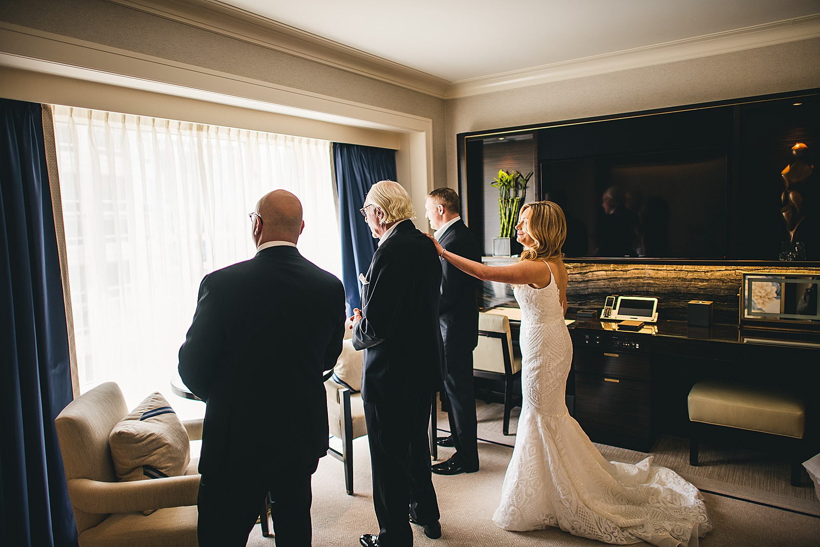 15 bride and dad first look - Susie + Eric's Jewish Wedding at the Peninsula Hotel in Chicago