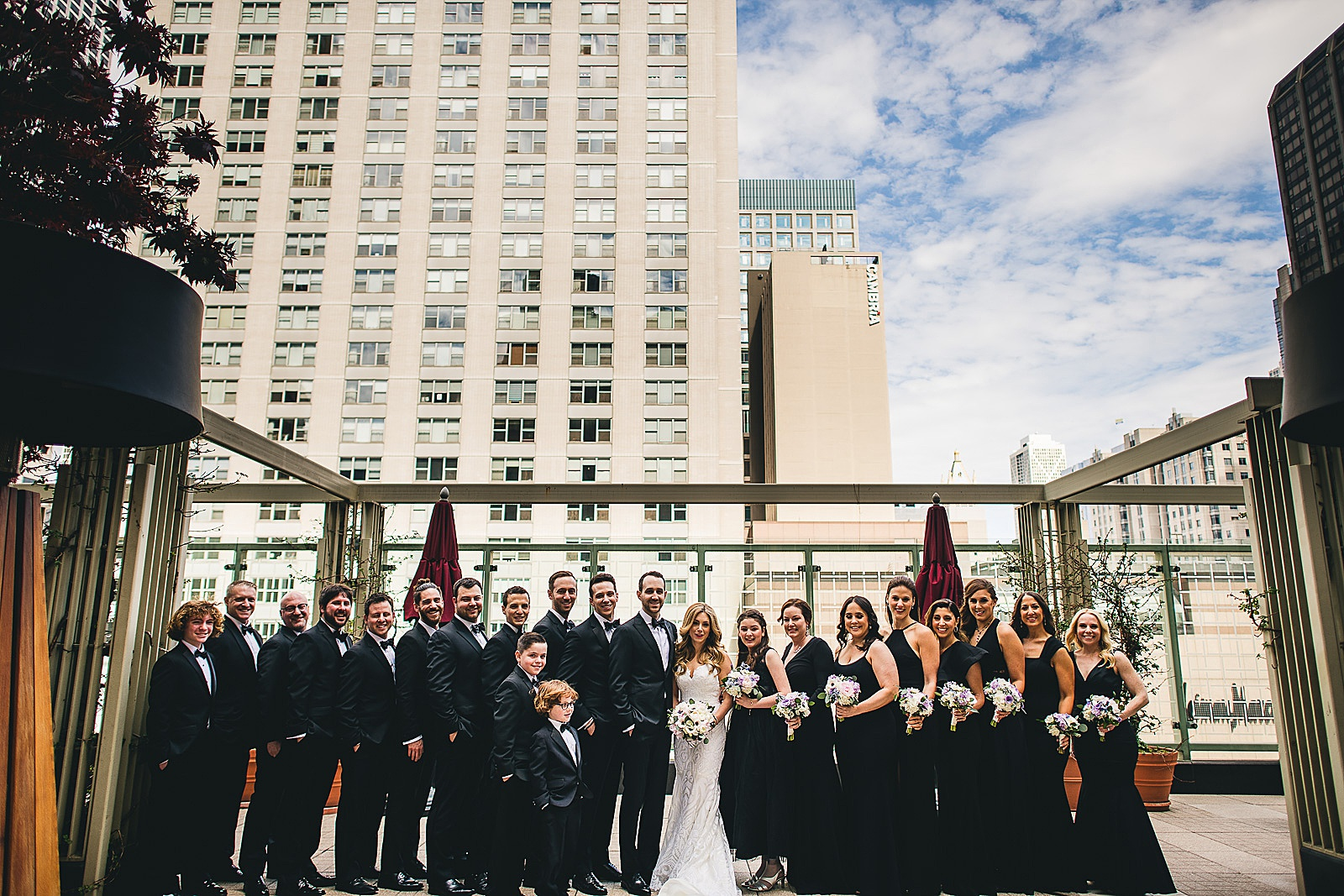26 bridal party at peninsula hotel - Susie + Eric's Jewish Wedding at the Peninsula Hotel in Chicago