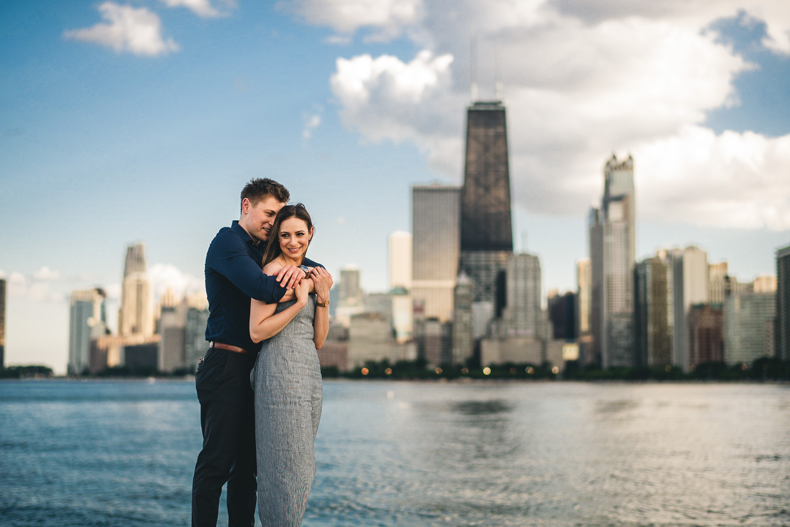 02 chicago skyline engagement session - Chicago Sunset Engagement Session // Lani + Ross