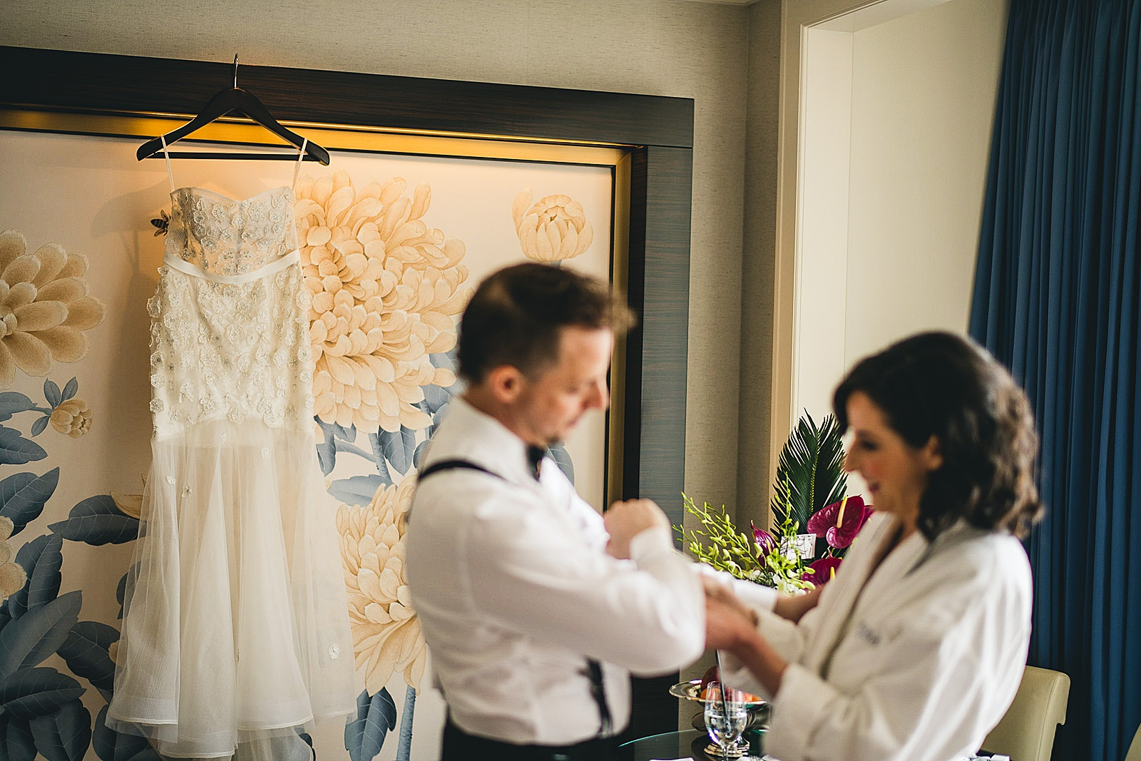 06 bride and groom getting ready together inspiration - Chicago Illuminating Company Wedding // Samantha + Jeremy