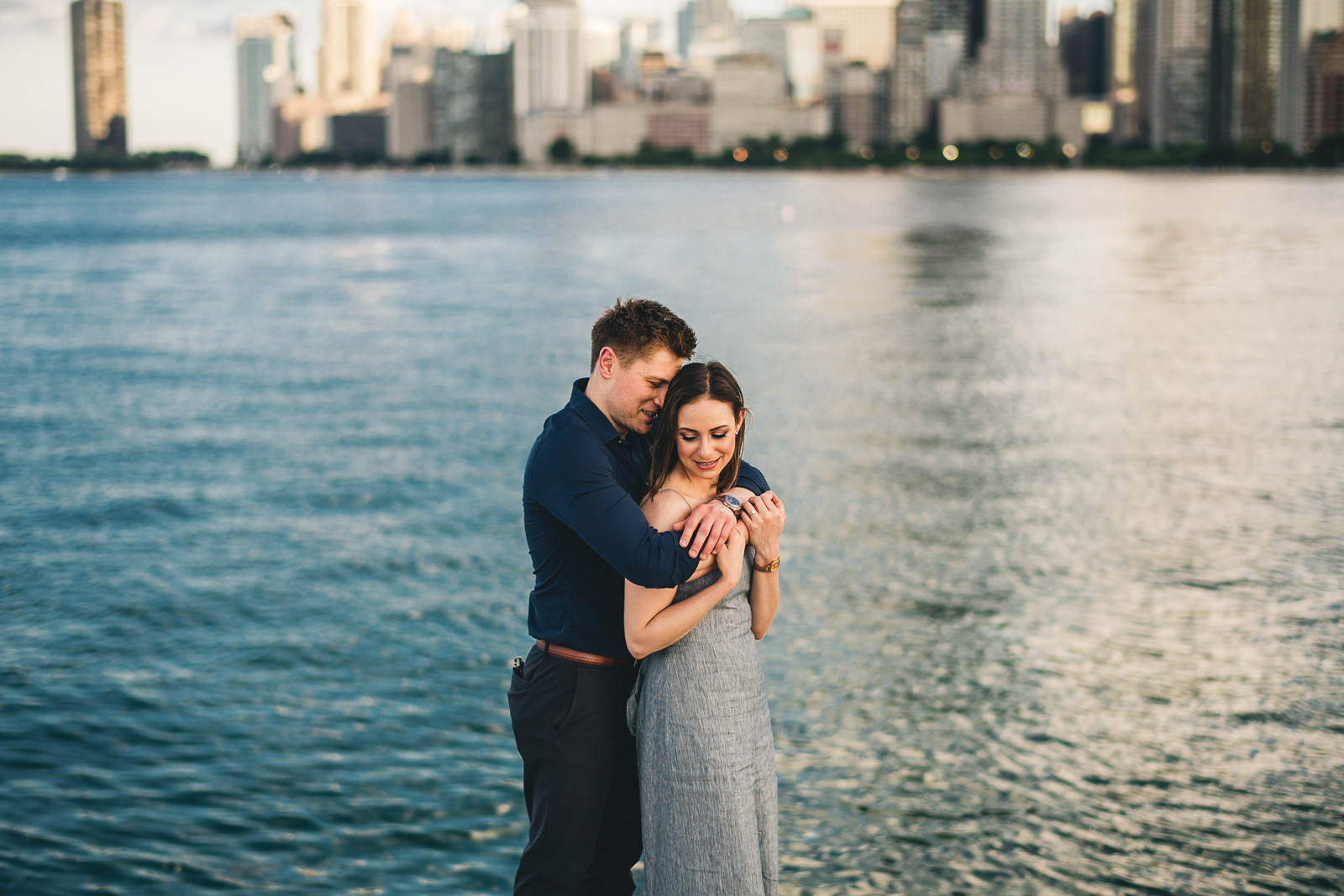 07 chicago engagement session on the water - Chicago Sunset Engagement Session // Lani + Ross