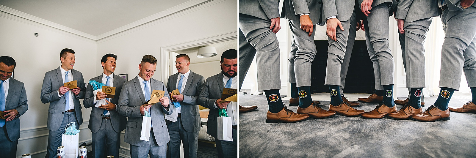 10 groomsmen having fun - Audrey + Jake's Beautiful Chicago Wedding at Chez