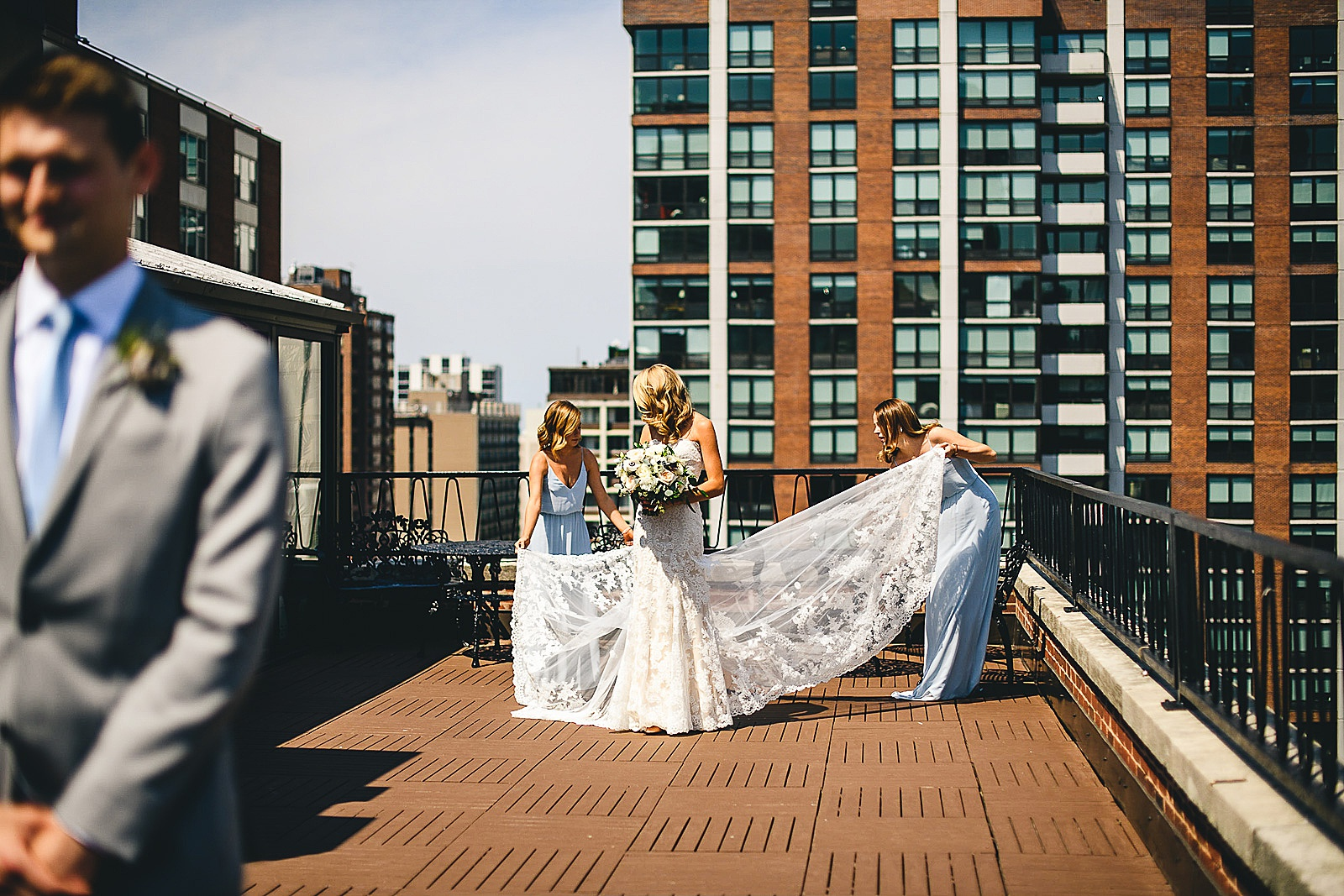 16 first look on ambassador hotel - Audrey + Jake's Beautiful Chicago Wedding at Chez