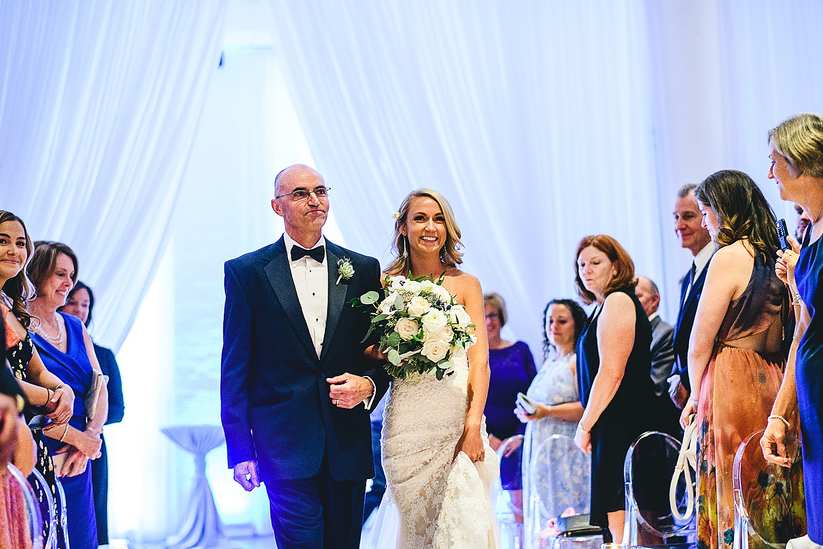 37 bride walking down the aisle - Audrey + Jake's Beautiful Chicago Wedding at Chez
