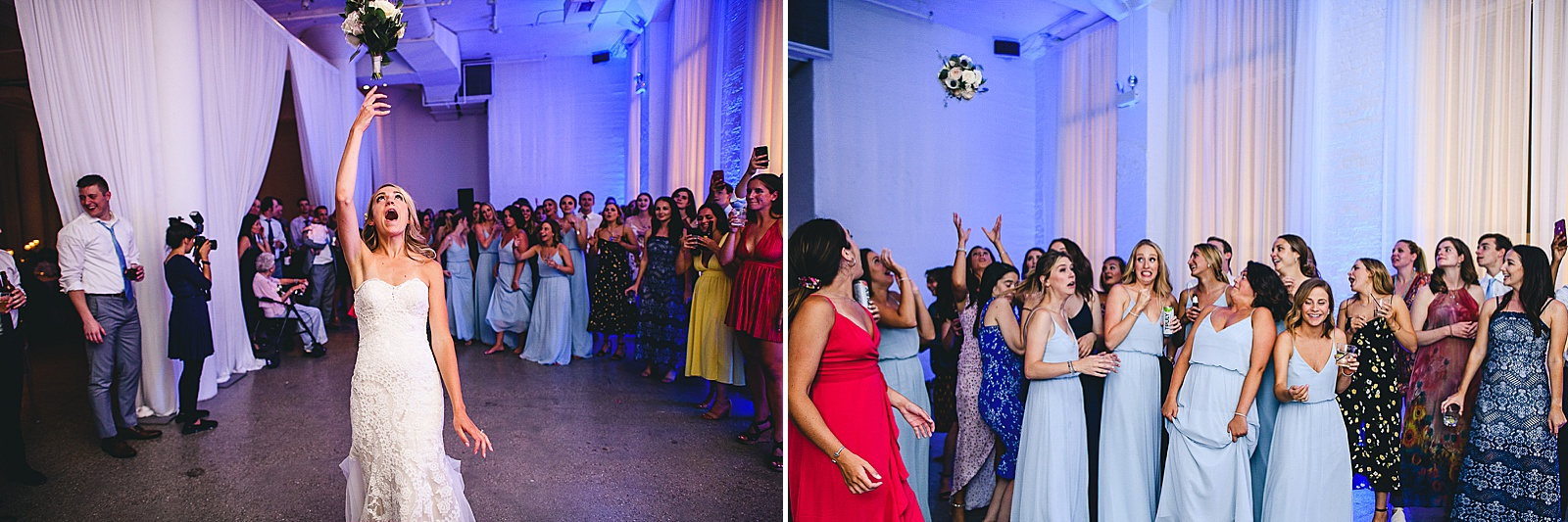 59 bouquet toss at wedding - Audrey + Jake's Beautiful Chicago Wedding at Chez