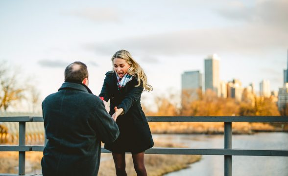 04 proposing in chicago 588x360 - Zach + Staci // Chicago Proposal