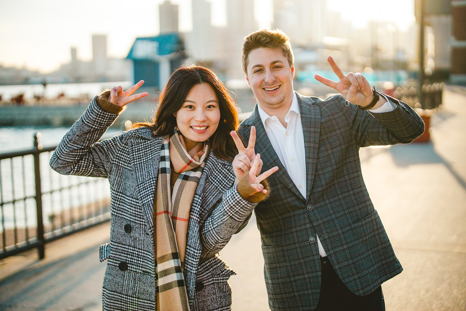 20 peace - Navy Pier Engagement Session // Tyler + Jing