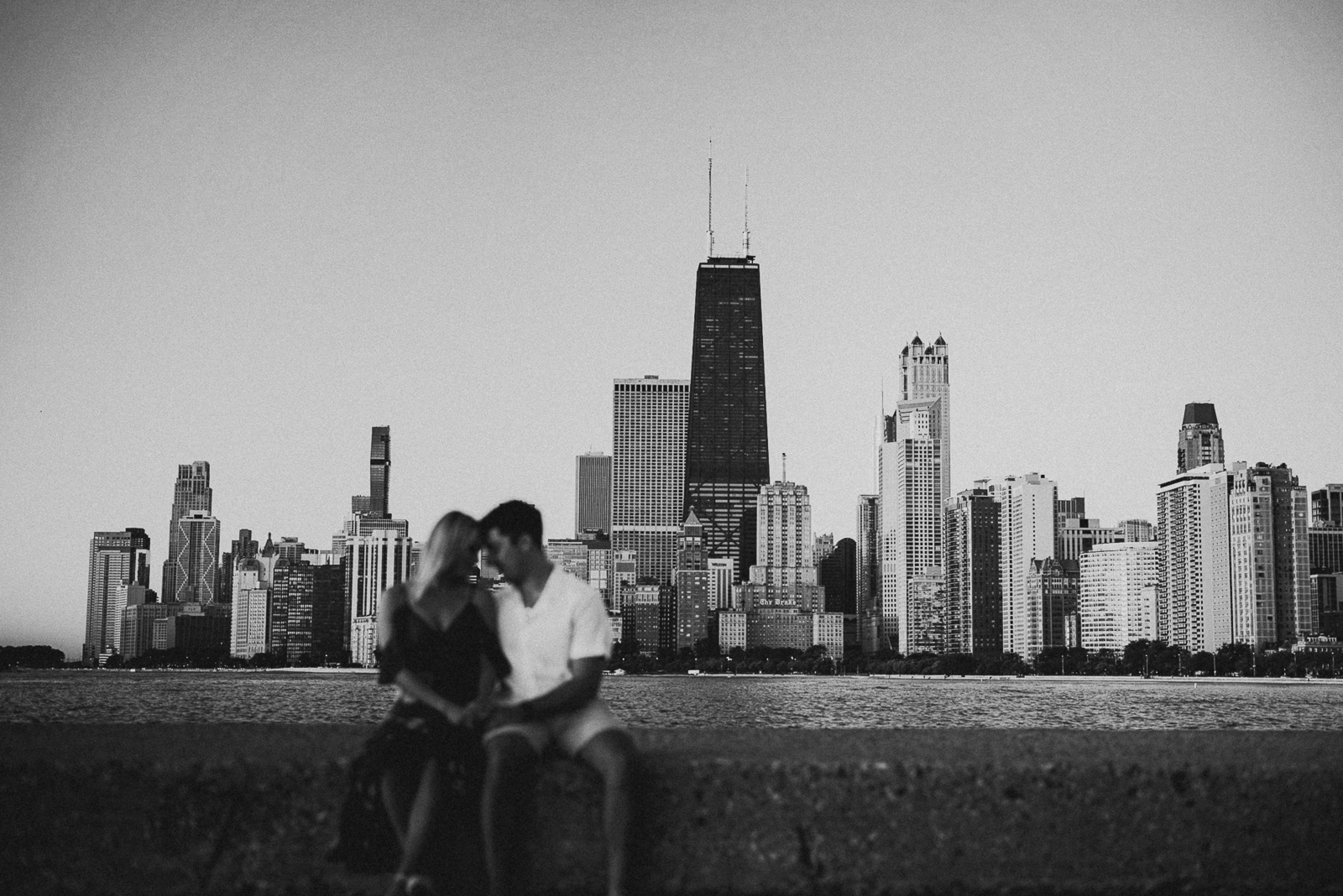 01 black and white chicago engagement photos - Chicago Sunrise Engagement Photos // Mikayla + Dom