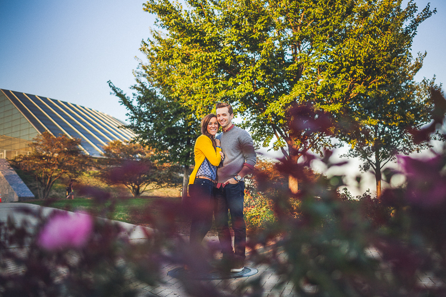 13 couple in garden stylish Andrew + Nicole >< Surprise Proposal Chicago Planetarium